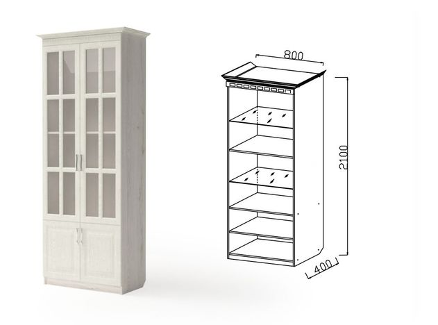 Шкаф 2-х дверный для посуды НГ-4 Гармония-6