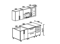 Кухонный гарнитур Мыло 2,0 МДФ салат/белый металлик